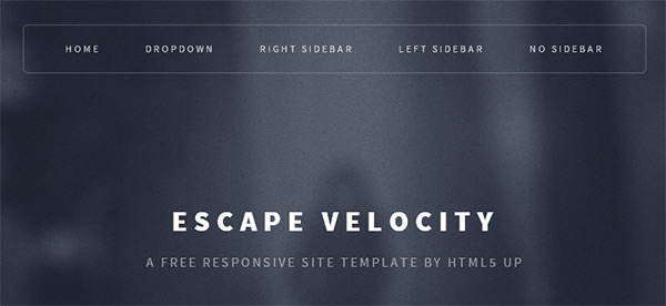 Escape Velocity in 23 New and Free HTML5 Templates