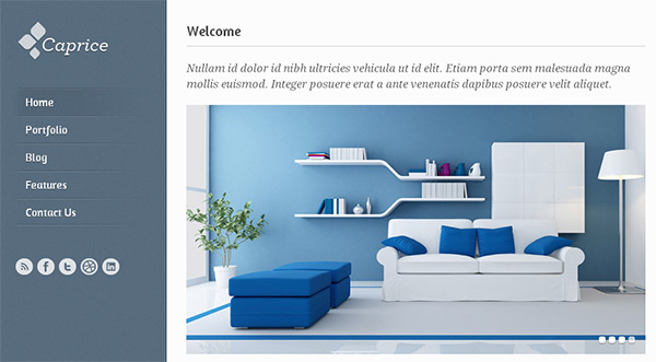 Caprice in 23 New and Free HTML5 Templates